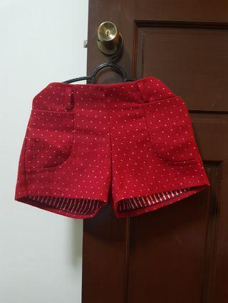 Christmas-sy Polka dot red furry shorts