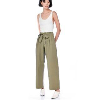 The Editor's Market Amby High-Waisted Pants (Olive Green)