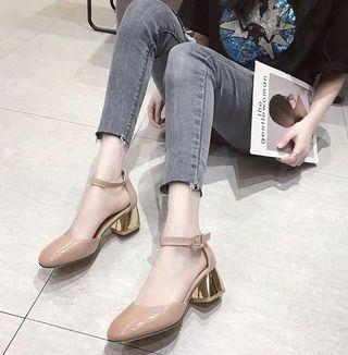 Korea style women PU middle heel casual thick heel shoes