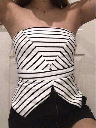 Striped strapless top
