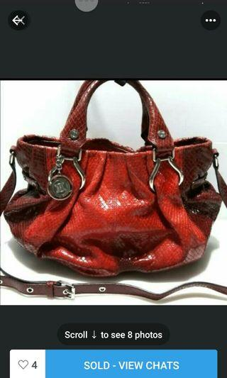 🚚 Authentic Celine Red Python Pillow Bag