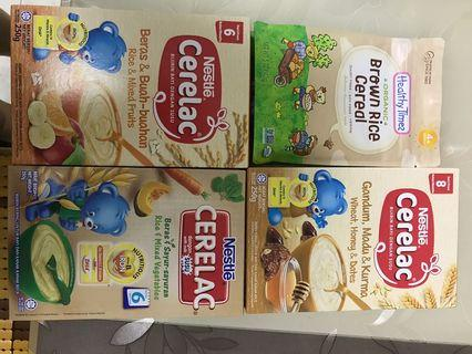 (4 x packs) Baby cereals Nestle Ceralac & Healthy Times brown rice cereal