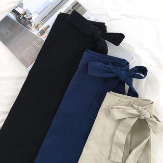 Ulzzang side tie assymetrical skirt in black