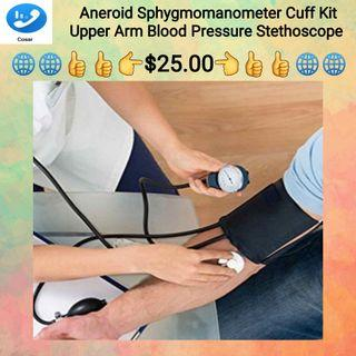 Professional Adult Blood Pressure Monitor BP Cuff Arm Aneroid Sphygmomanometer kit with Pressure Gauge / Glass Mercurial Thermometer