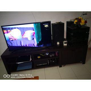 Television long cabinet with shelves and drawers