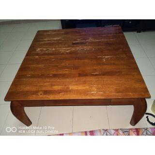 Coffee square table wooden (low-level) with 2 side drawers