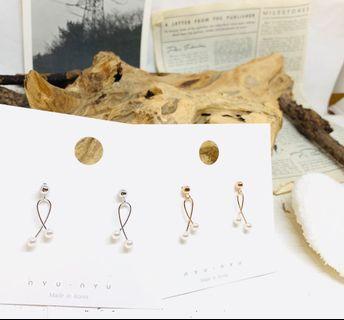 韓國簡單型格珍珠耳環(銀色)