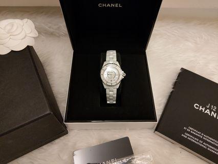 可刷卡可分期 *9.5成新 Chanel J12 H1628 鑲鑽石英陶瓷錶 白 33mm