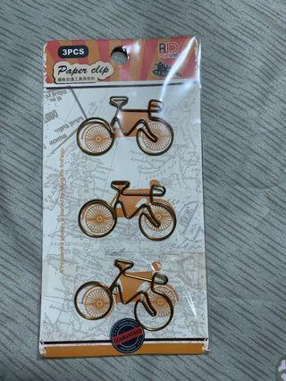 Bicycle shaped paper clip