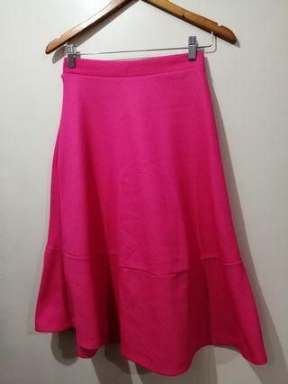 H&M Fuschia Pink Midi Skirt