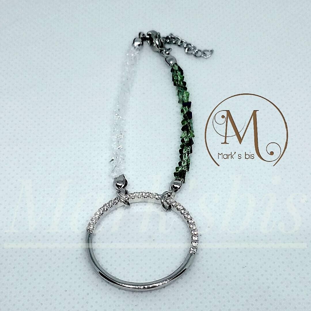 自家製: 超閃大圓圏水晶手鏈(淺綠/白色)