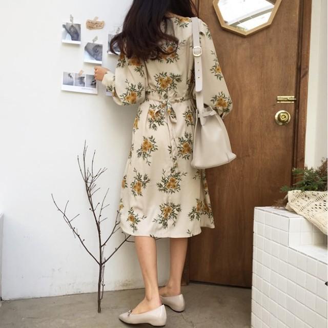 清倉 韓國時裝 大減價 印花連身裙 綁帶 靚料 dress