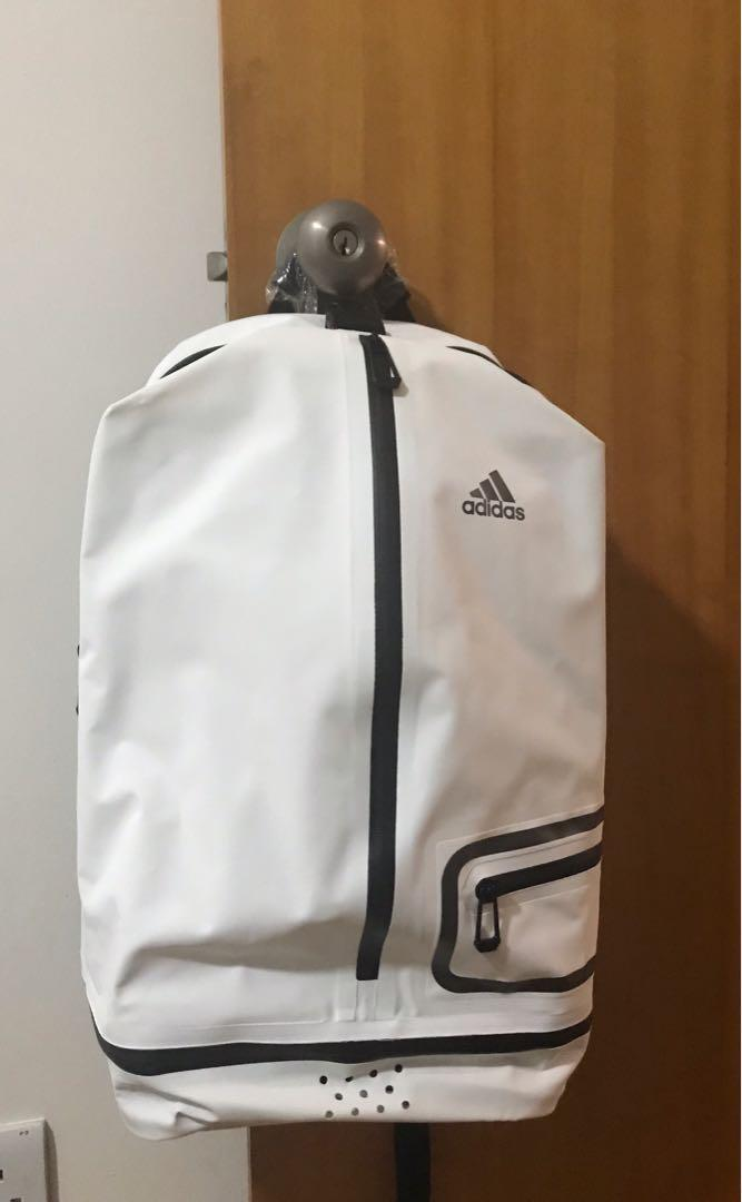 Adidas high end backpack. Very light. Water proof. Shoes compartment is designed breathable. Laptop is secured.