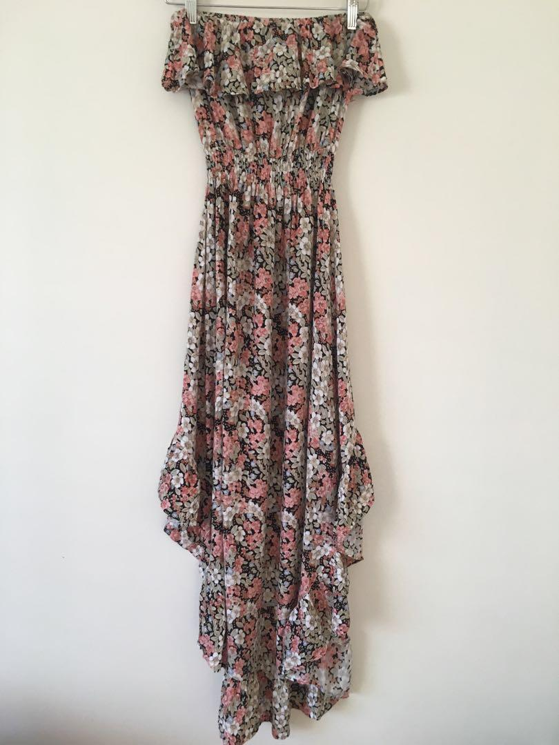 Angel Biba floral strapless dress size 6 (can fit size 8) princess polly