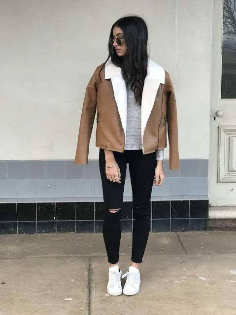 August Street The Label Shearling Faux Leather Jacket