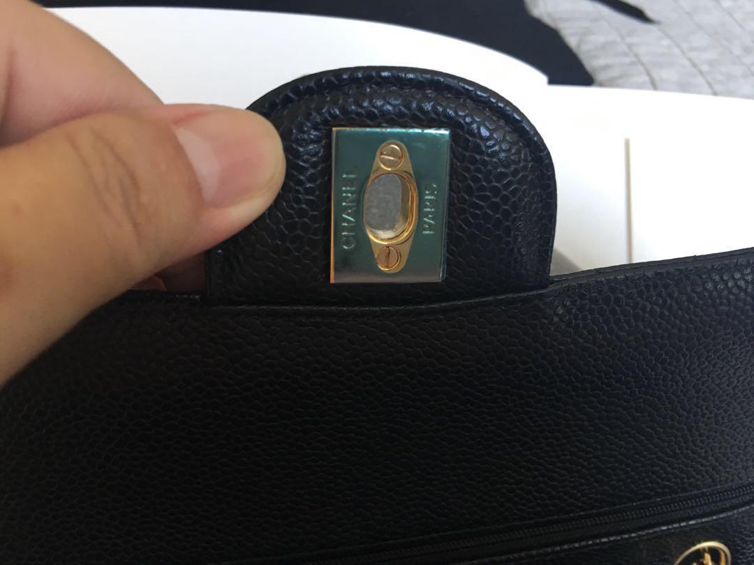 Authentic Chanel medium/large Black caviar gold hardware COMPLETE