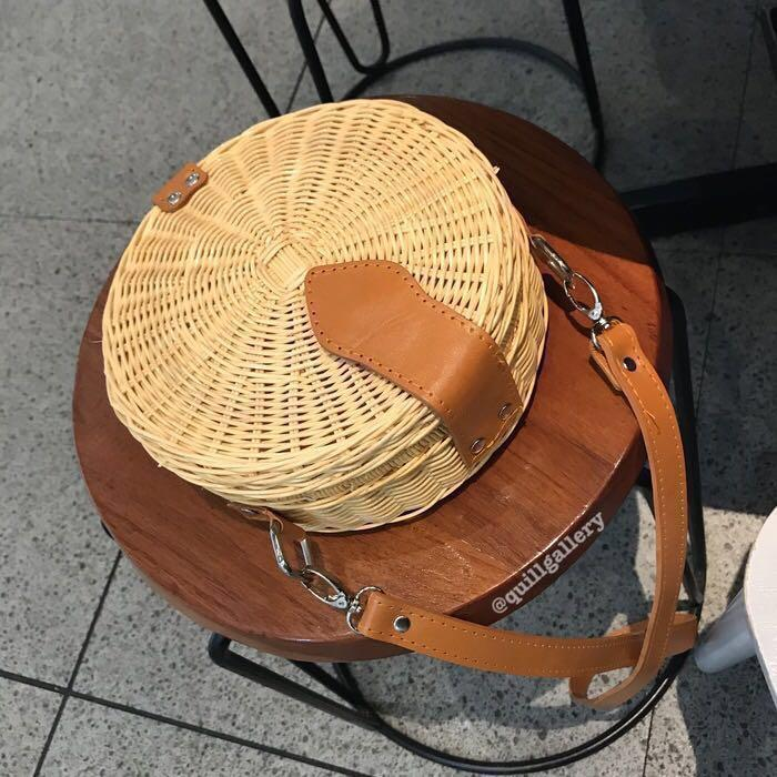 Bali Round Woven Rattan Bag Straw Wicker Beach Basket