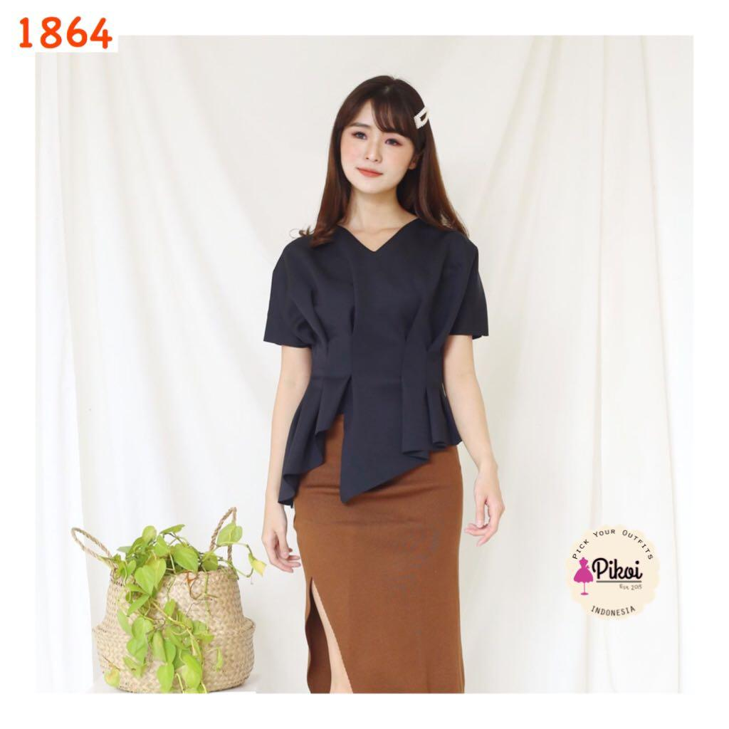 Blouse / Atasan wanita / baju asimetris / office top blouse kerja big size nyla / 1864