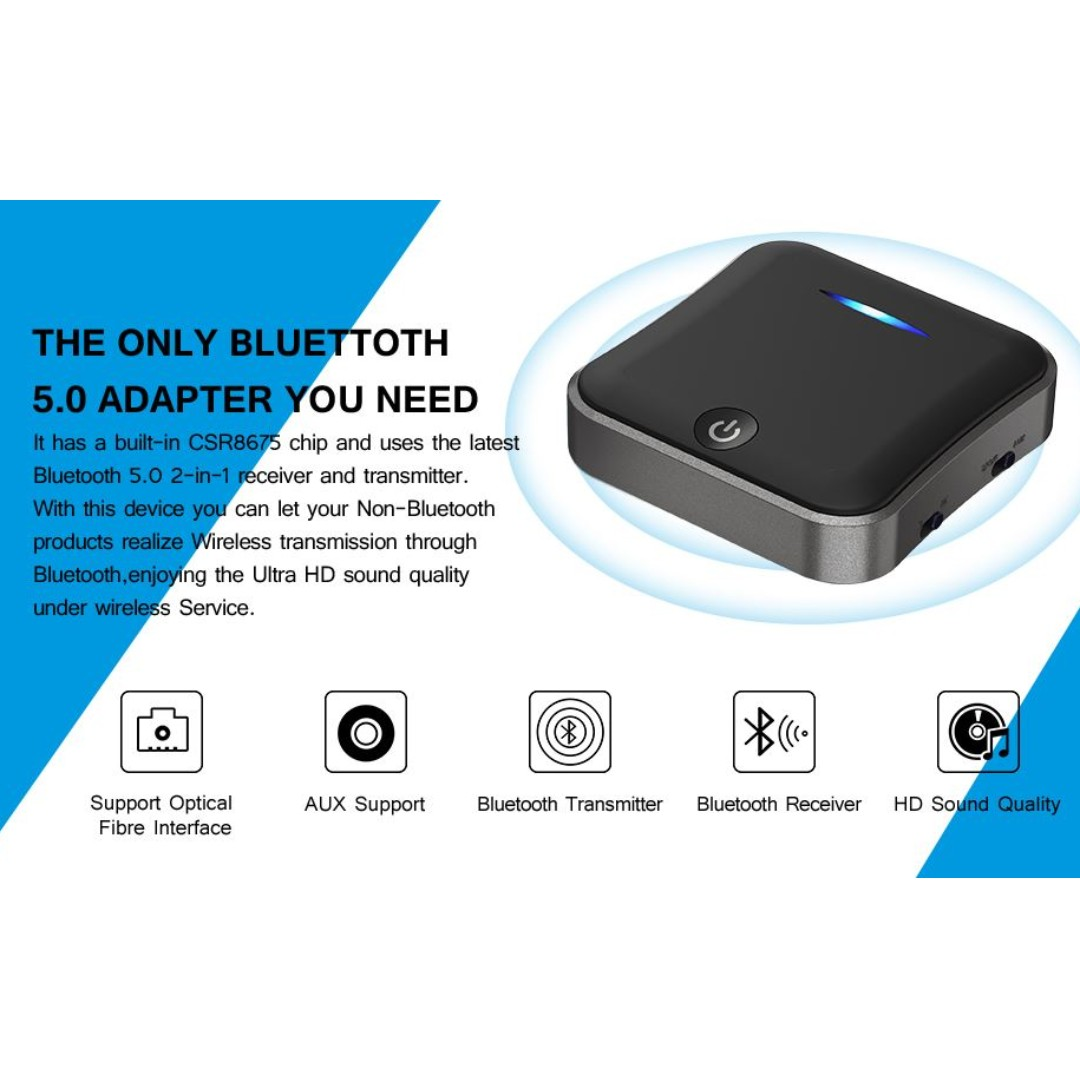 Bluetooth 5 0 Transmitter Receiver, HiGoing Digital Optical TOSLINK/SPDIF,  RCA and 3 5mm Audio Adapter, aptX HD, aptX LL, Low Latency, Pair 2 at Once,