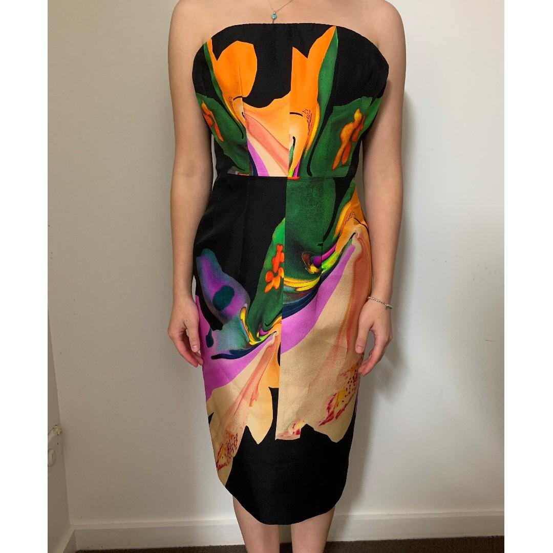 BNWOT JOSH GOOT FLORAL ABSTRACT STRAPLESS MIDI DRESS - SIZE 6 AU (RRP $499)