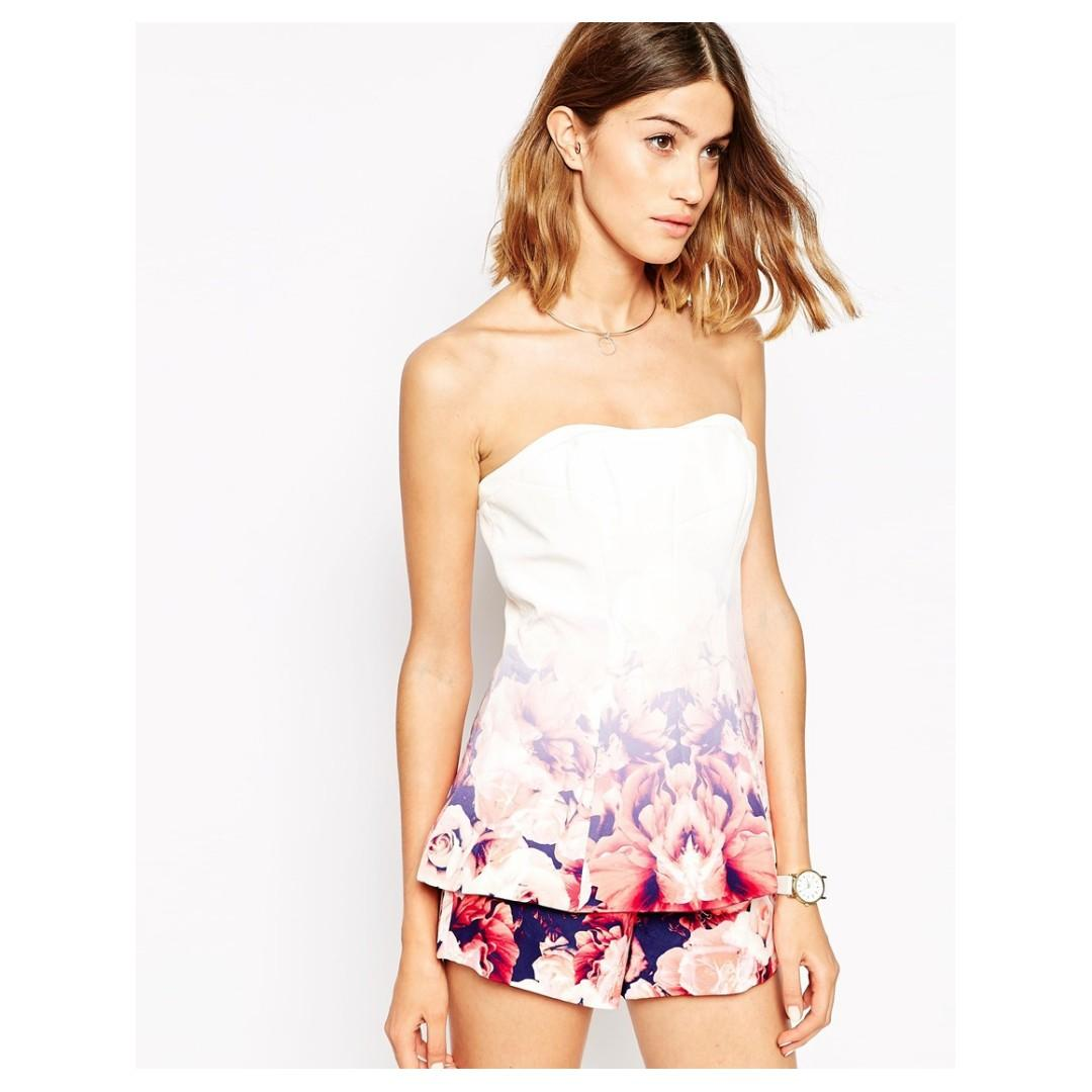 BNWT FINDERS KEEPERS FLORAL OMBRE BUSTIER TOP - SIZE S (RRP $139.95)