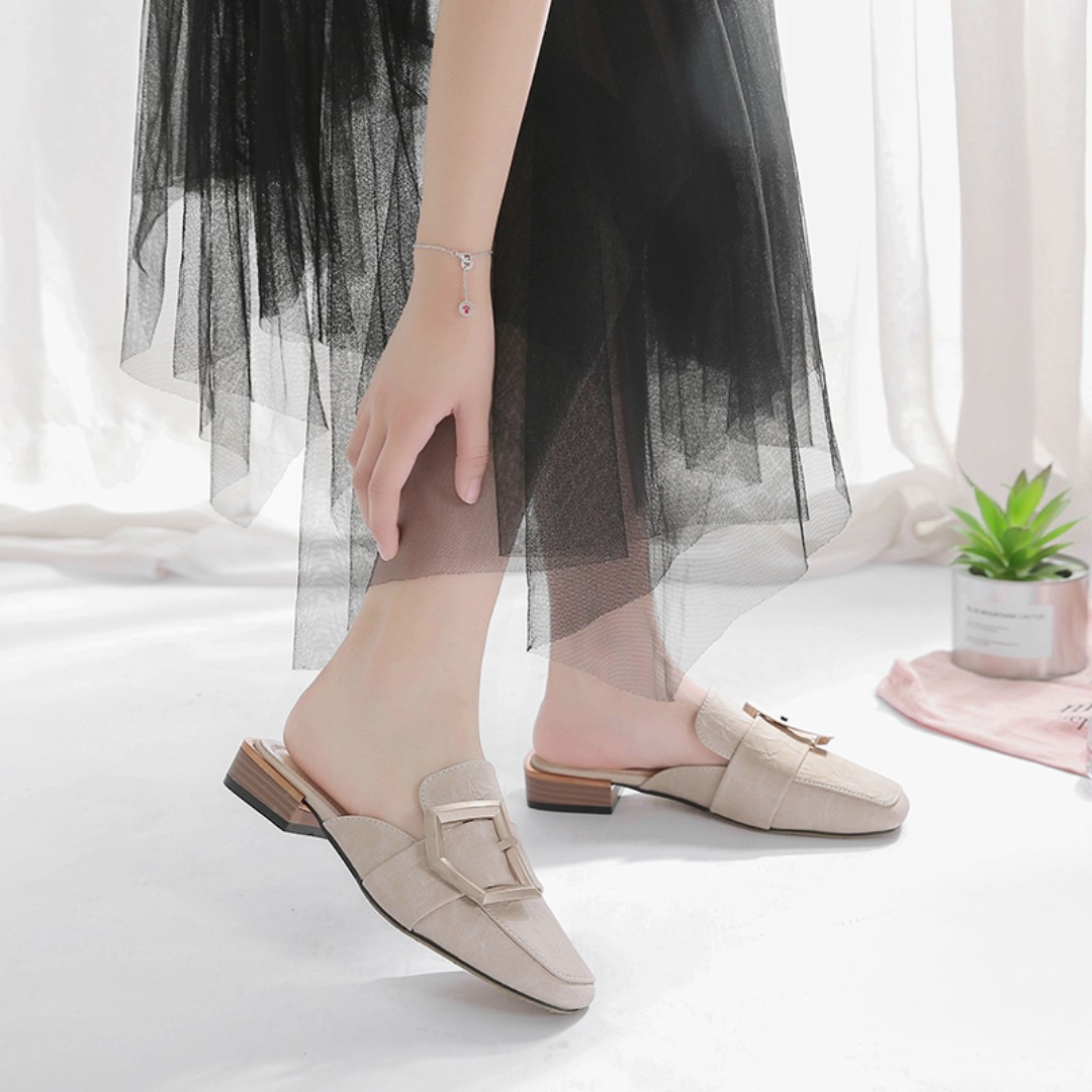 972d280ecdca1 Buckle Straps Korean Style With Low Block Heels Mules Loafers ...