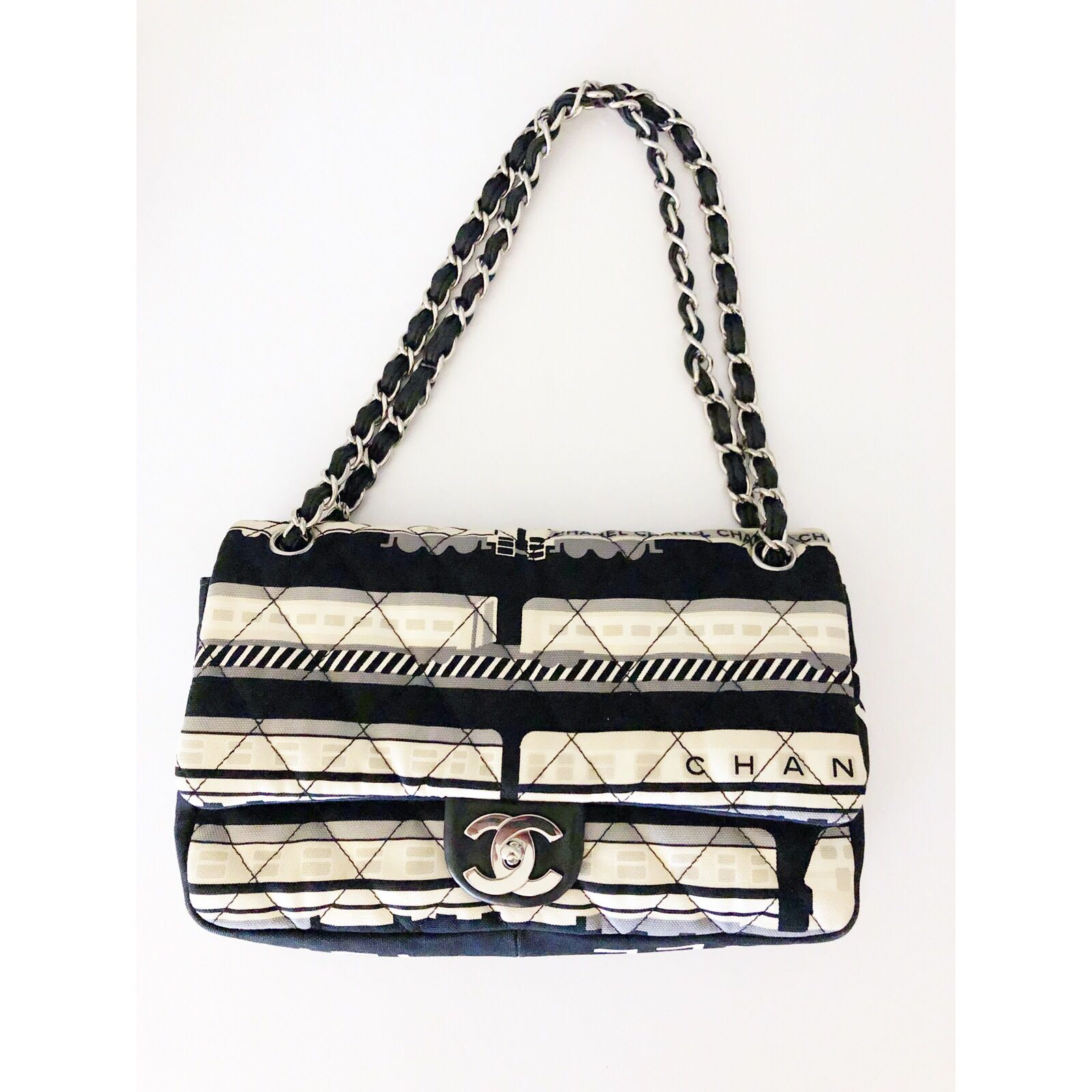 87d3f8aa618a Chanel limited edition Le Train Flap Bag Quilted Printed Canvas Medium,  Luxury, Bags & Wallets, Handbags on Carousell