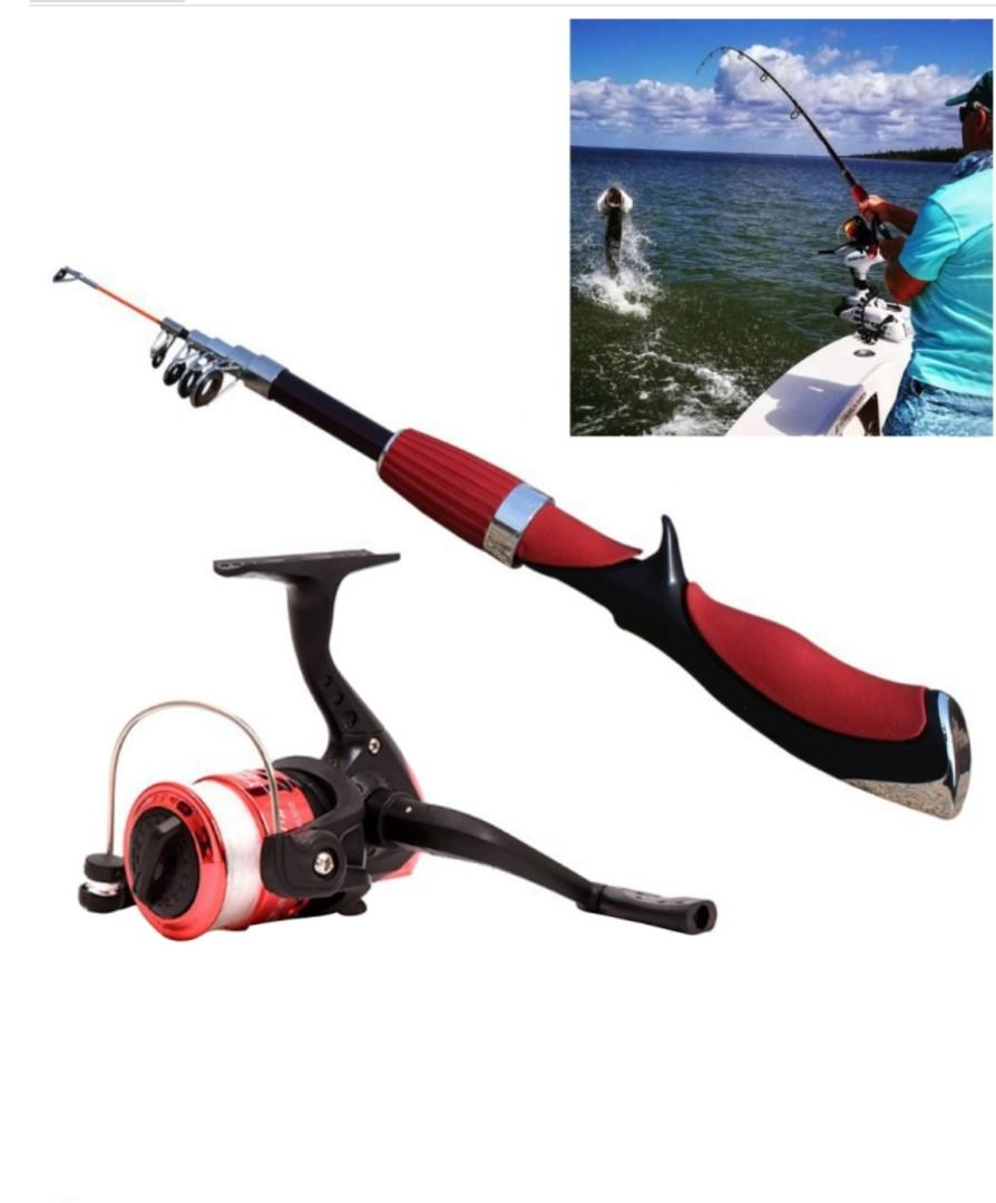 1.4m Curved Shank 6 Sections Portable Telescopic Fishing Rod Pole with Fishing Reel  and Fishing Line