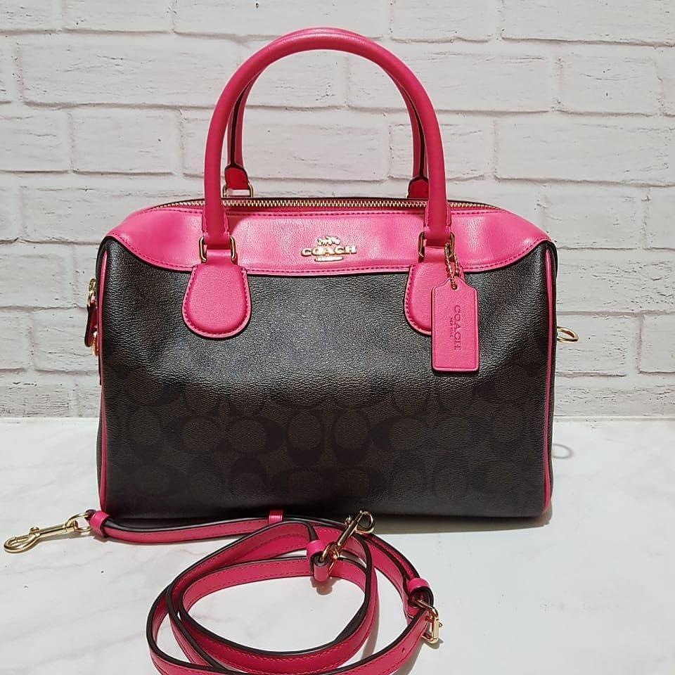 Coach Pebble Leather Large Bennet size 29x23x12,5cm Signature Brown Black Neon Pink