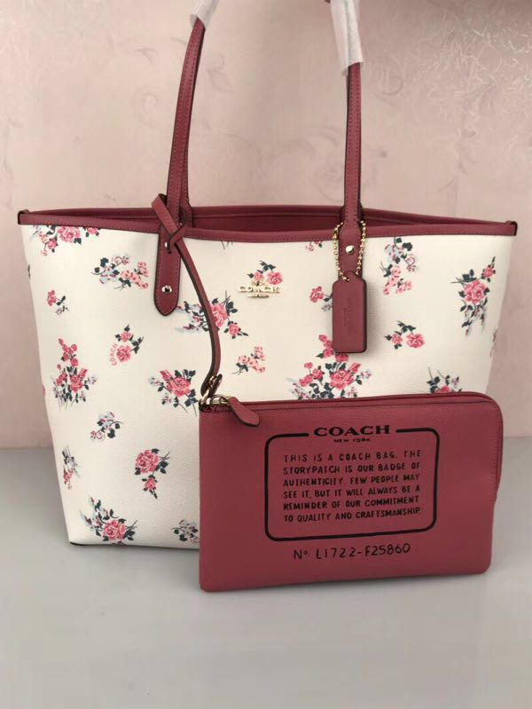 4734c1fc2 COACH; Reversible Pink Floral Tote Bag #EnsgameYourExcess, Luxury, Bags &  Wallets, Handbags on Carousell