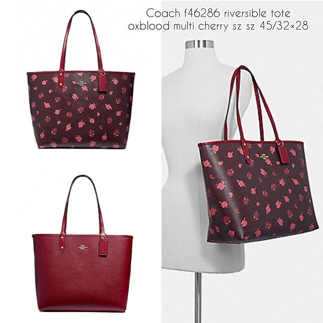 Coach Reversible Tote size 33/40x30 peony print Oxblood Cherry (bisa dipakai bolak balik)