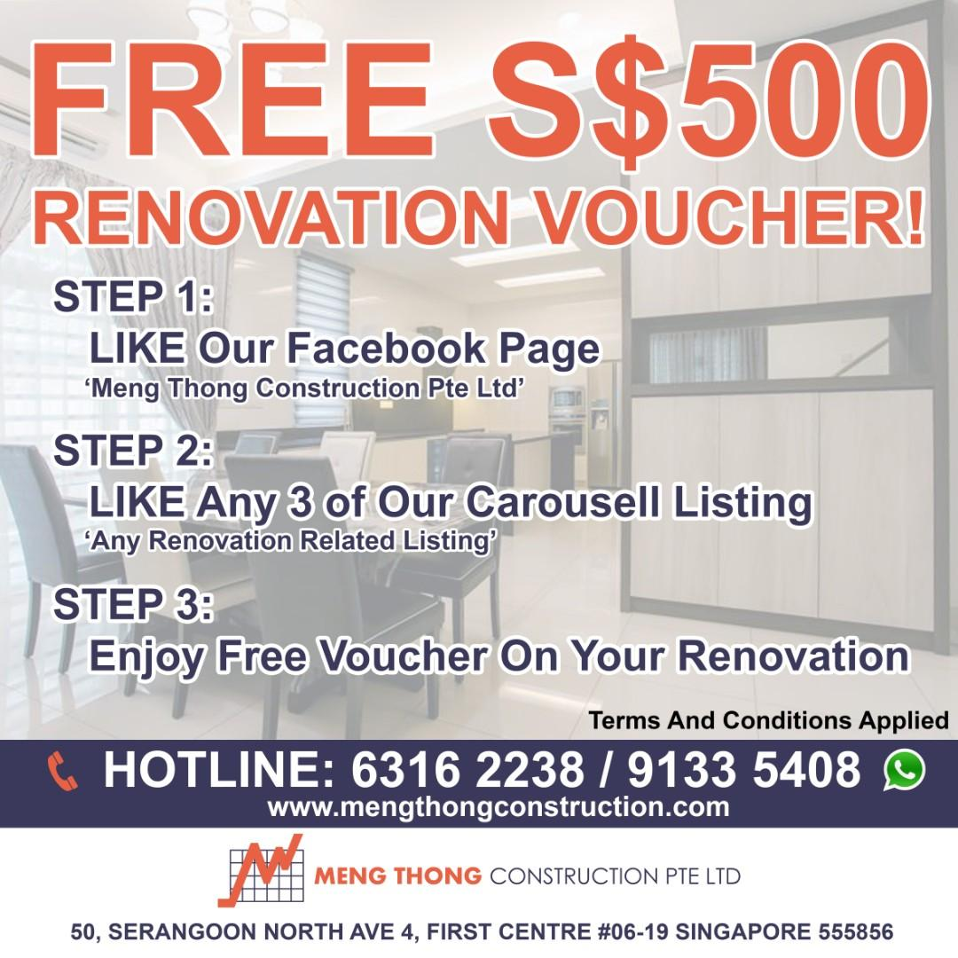 Free S$500 Renovation Voucher!, Entertainment, Gift Cards