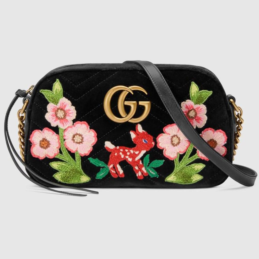 48010cb7aab GUCCI GG Marmont velvet small shoulder bag, Women's Fashion, Bags ...