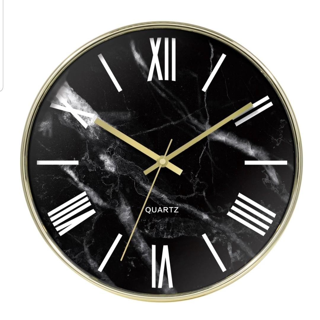 (Instock) Gold and Black Marble Print Clock