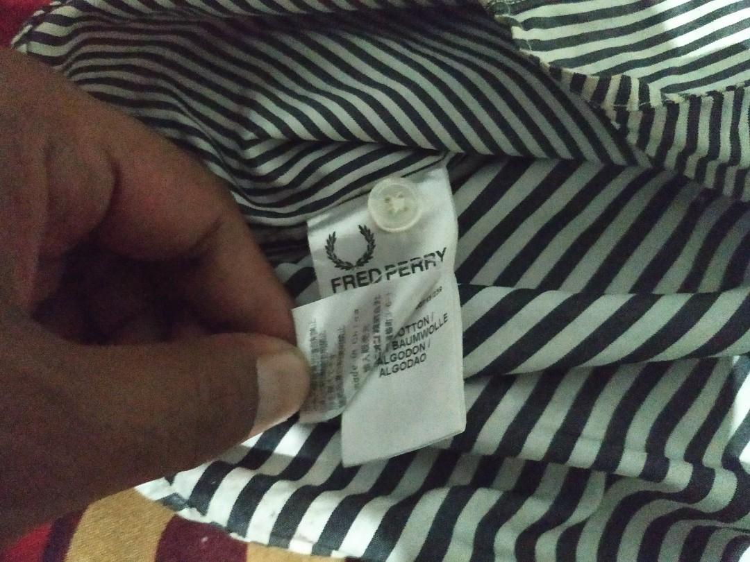 kemeja lengan pendek fred perry original short striped shirt