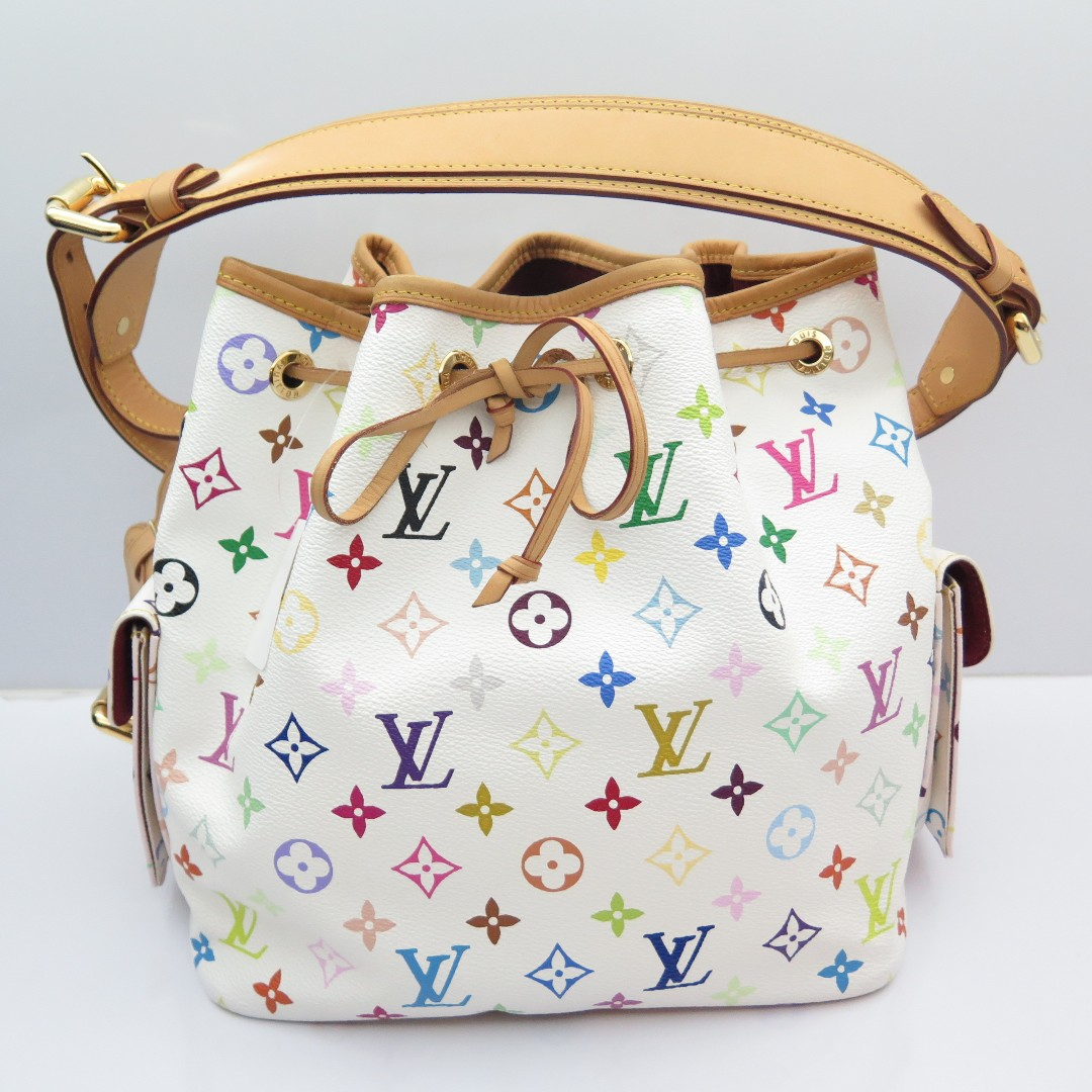 1ee5c72384eae Louis Vuitton Multicolor Petit Noe Blanc Shoulder Bucket Bag M42229 ...