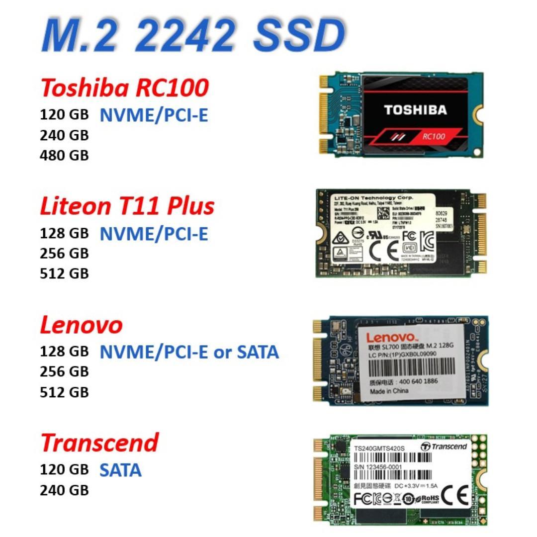 M 2 2242 SSD NVME interface PCI-E SATA (M2 Toshiba Liteon Lenovo