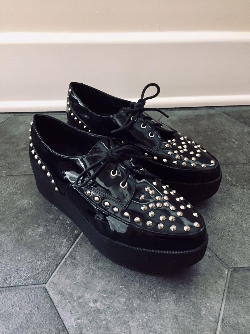 OFFICE Studded Patent Leather Platform Shoe in Size 8
