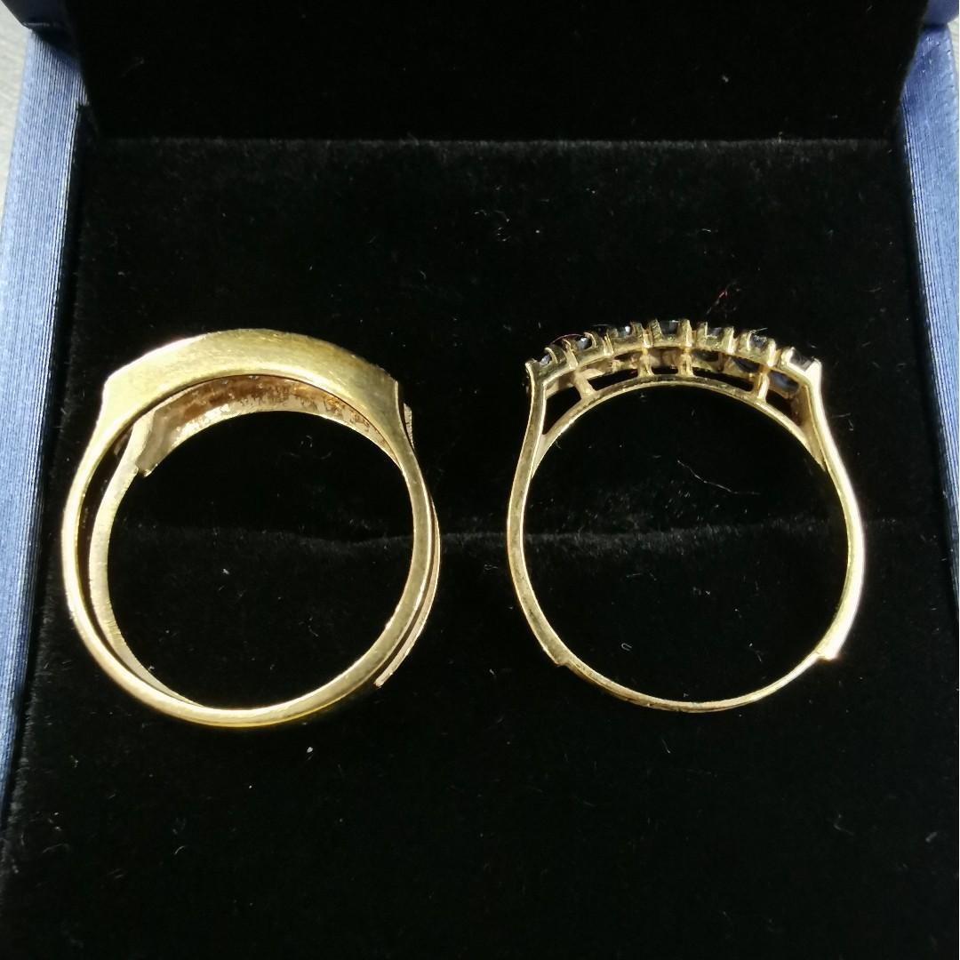 Pre-loved 18K Gold Blue Sapphire Diamond Ring [H61431]