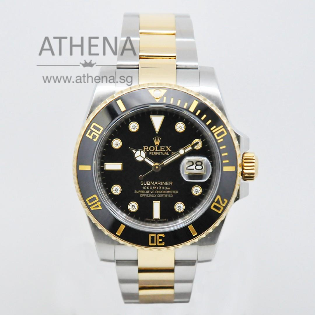 """ROLEX """"HALF-GOLD"""" OYSTER PERPETUAL DATE BLACK SUBMARINER CERAMIC """"AN"""" SERIES """"BLACK DIAMOND DIAL"""" WITH BOX 116613LN JGWRL_885"""
