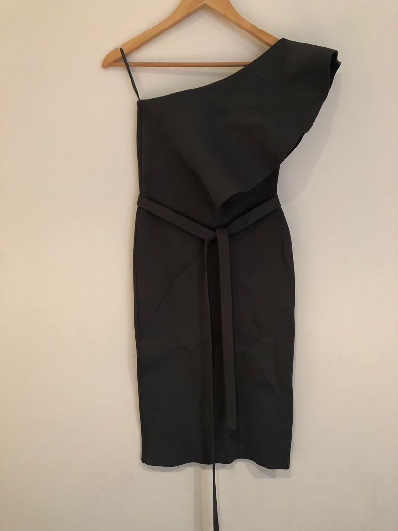 Scanlan Theodore Crepe Knit Ruffle Dress - Safari, Size Small