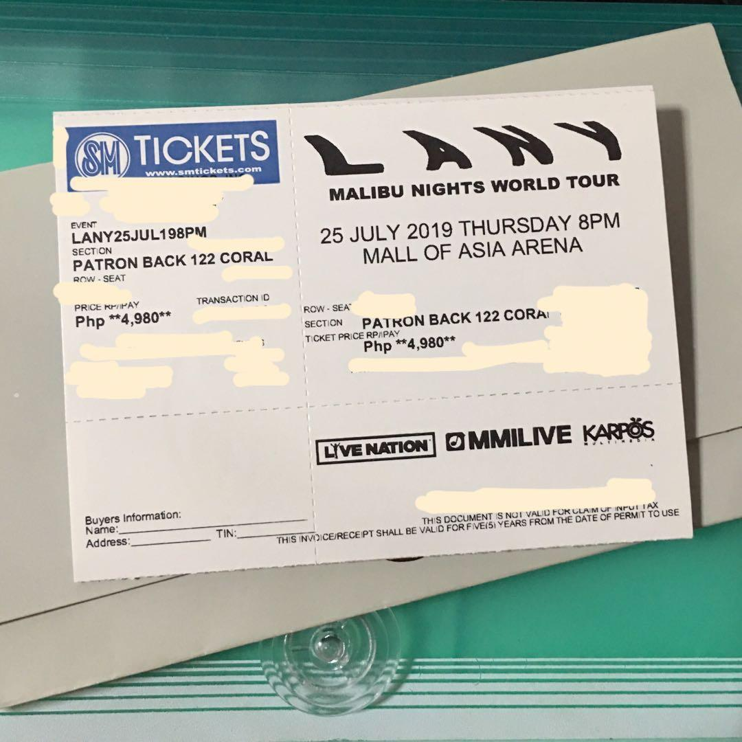 e9128baf47 SELLING FOR A FRIEND!! LANY PATRON BACK TICKETS DAY 2 (JULY 25, 19) on  Carousell