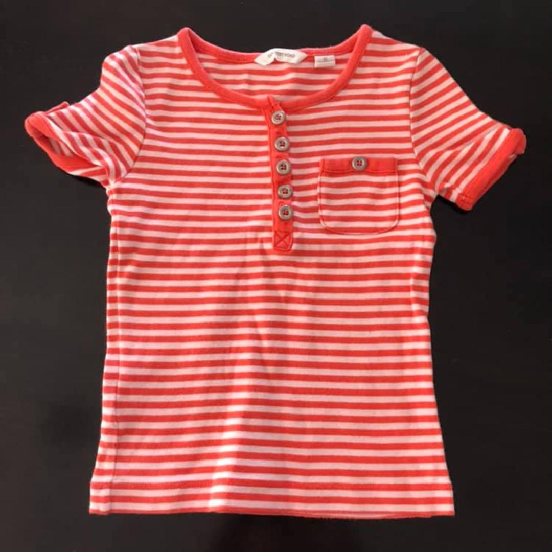 Size 2 Guc Country Road Girls Oranged stripe Ribbed top short sleeve