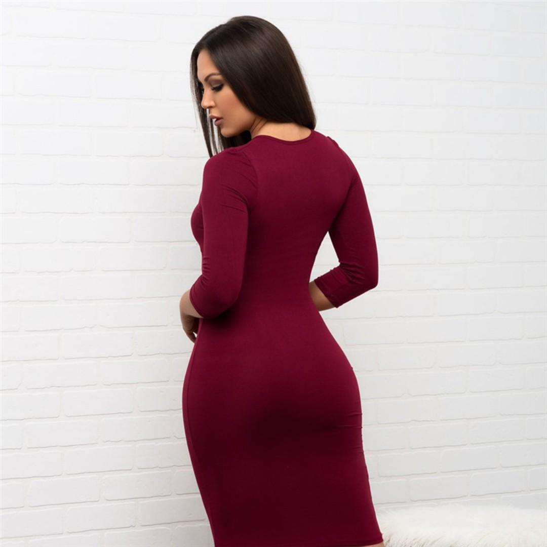 📦▪[🅿re🅾rder]▪📦Three Quarter Sleeve O-Neck Women Club wear Dresses Red Bodycon Package Hips Dress New Streetwear Mini Dress