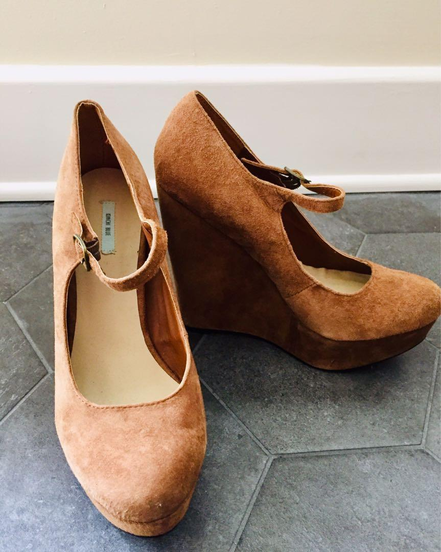 Urban Outfitters Suede Mary Jane Wedge Heel in Size 8