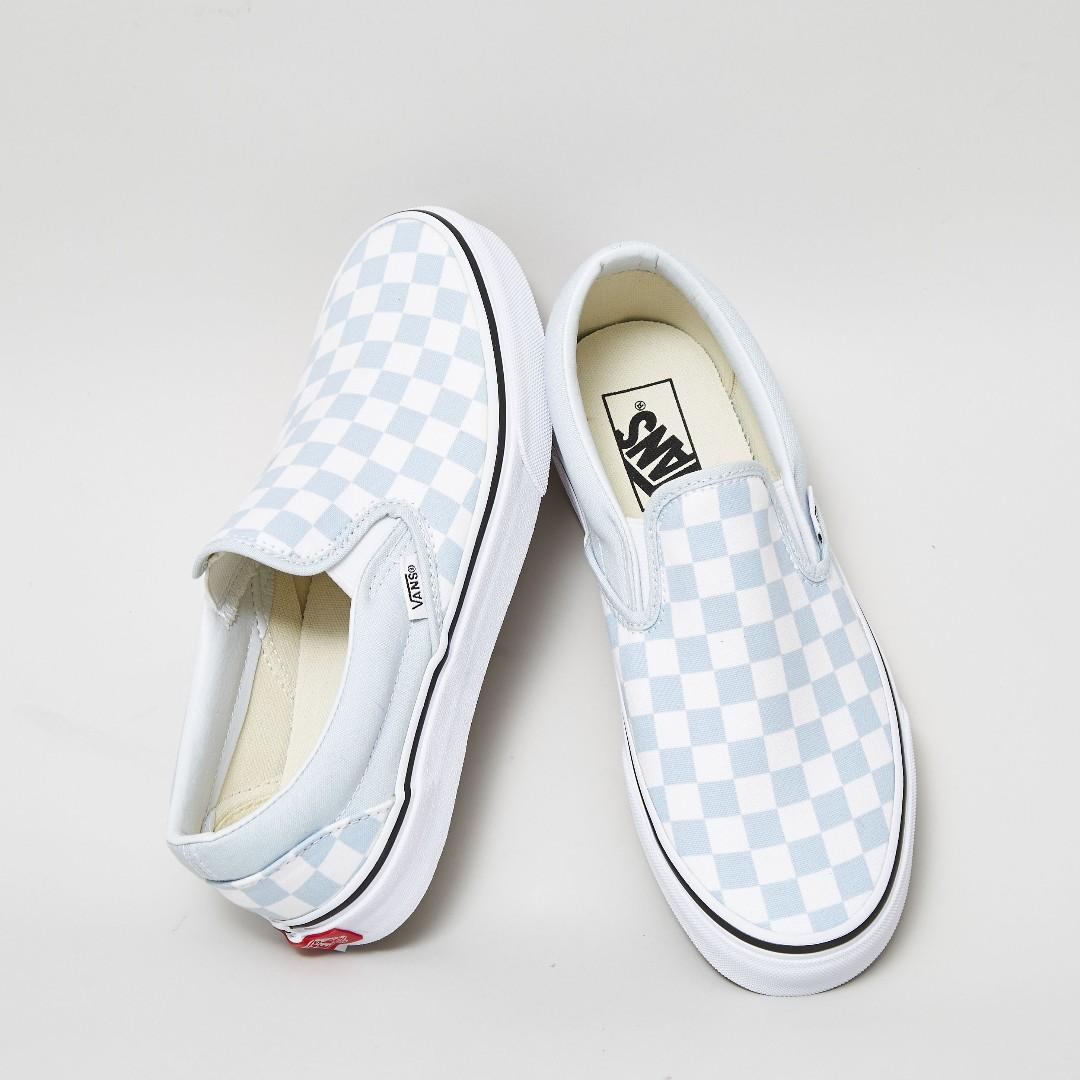 Vans Classic Slip-On Checkerboard Baby Blue/White US Men's 7 8 9 10