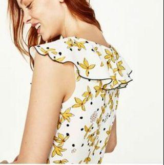 Zara Yellow Flower Crop Top