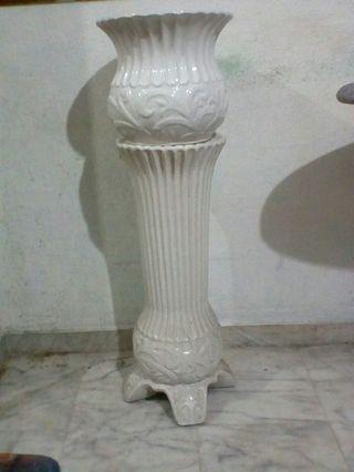 Vintage White Vase w/ stand.