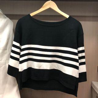 🚚 黑色 寬鬆 針織棉條紋上衣 罩衫