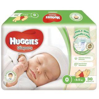 2 PACKETS of Huggies Natural Diapers Step 0 3.5kg 30s / 2包全新天然護膚紙尿片